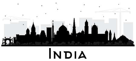 India City Skyline Silhouette with Black Buildings on White. Delhi Mumbai, Bangalore, Chennai. Vector Illustration. Travel and Tourism Concept with Historic Architecture. India Cityscape with Landmarks.