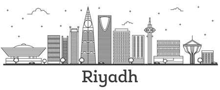 Outline Riyadh Saudi Arabia City Skyline with Modern Buildings Isolated on White. Vector Illustration. Riyadh Cityscape with Landmarks. Illustration