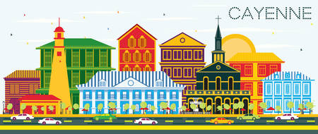 Cayenne City Skyline with Color Buildings and Blue Sky. Vector Illustration. Business Travel and Tourism Concept with Modern Architecture. Cayenne Cityscape with Landmarks. Illustration