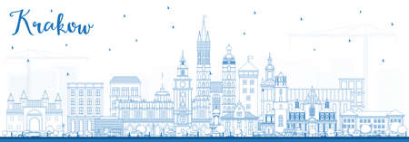 Outline Krakow Poland City Skyline with Blue Buildings. Vector Illustration. Business Travel and Tourism Concept with Historic Architecture. Krakow Cityscape with Landmarks. Illustration
