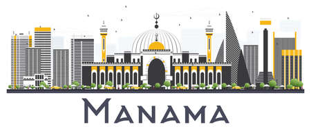 Manama Bahrain City Skyline with Gray Buildings on White Background. Vector Illustration. Business Travel and Tourism Concept with Modern Buildings. Manama Cityscape with Landmarks.