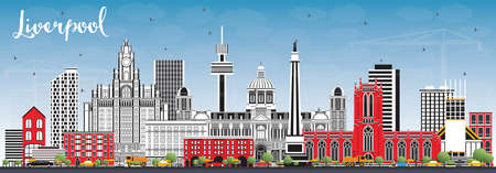 Liverpool Skyline with Color Buildings and Blue Sky. Vector Illustration. Business Travel and Tourism Concept with Historic Architecture. Liverpool Cityscape with Landmarks.