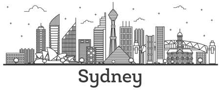 Outline Sydney Australia City Skyline with Modern Buildings. Vector Illustration. Sydney Cityscape with Landmarks.