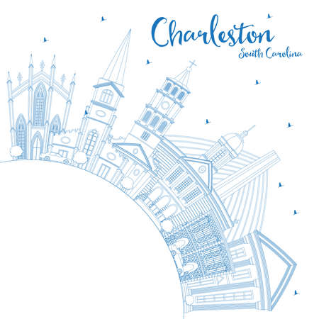 Outline Charleston South Carolina City Skyline with Blue Buildings and Copy Space. Vector Illustration. Business Travel and Tourism Illustration with Historic Architecture.