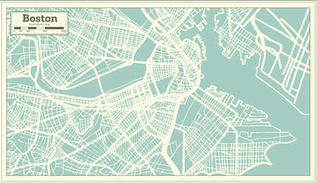 Boston USA City Map in Retro Style. Outline Map. Vector Illustration.