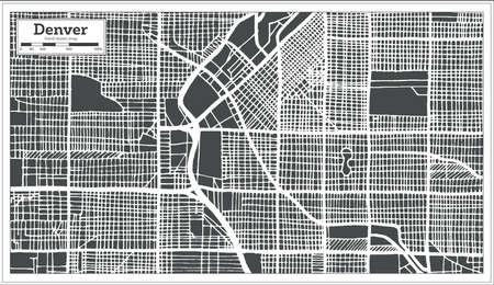 Denver USA City Map in Retro Style. Outline Map. Vector Illustration.  イラスト・ベクター素材