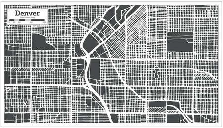 Denver USA City Map in Retro Style. Outline Map. Vector Illustration. Illustration