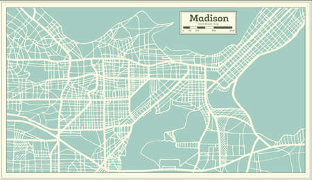 Madison USA City Map in Retro Style. Outline Map. Vector Illustration. 向量圖像