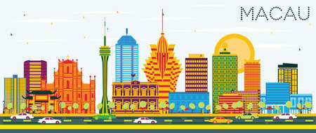 Macau China City Skyline with Color Buildings and Blue Sky. Vector Illustration. Business Travel and Tourism Concept with Modern Architecture. Macau Cityscape with Landmarks.