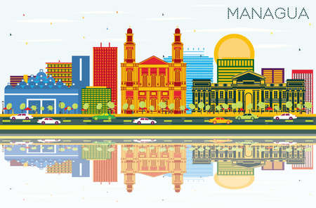 Managua Nicaragua Skyline with Color Buildings, Blue Sky and Reflections. Vector Illustration. Business Travel and Tourism Concept with Modern Architecture. Managua Cityscape with Landmarks.
