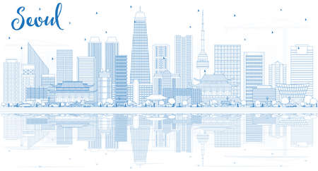 Outline Seoul Korea Skyline with Blue Buildings and Reflections. Vector Illustration. Business Travel and Tourism Concept with Modern Architecture. Seoul Cityscape with Landmarks.