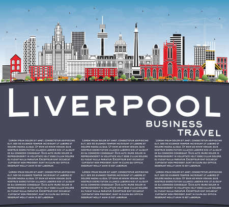 Liverpool Skyline with Color Buildings, Blue Sky and Copy Space. Vector Illustration. Illustration