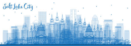 Outline Salt Lake City USA Skyline with Blue Buildings. Vector Illustration. Vectores