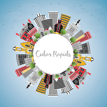 Cedar Rapids Iowa City Skyline with Color Buildings, Blue Sky and Copy Space. Vector Illustration. Business Travel and Tourism Illustration with Historic Architecture. Illusztráció