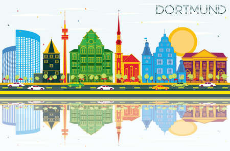 Dortmund Germany City Skyline with Color Buildings, Blue Sky and Reflections. Vector Illustration. Business Travel and Tourism Concept with Historic Architecture. Dortmund Cityscape with Landmarks. Illustration