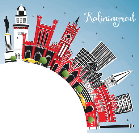 Kaliningrad Russia City Skyline with Color Buildings, Blue Sky and Copy Space. Business Travel and Tourism Concept with Historic Architecture. Kaliningrad Cityscape with Landmarks.