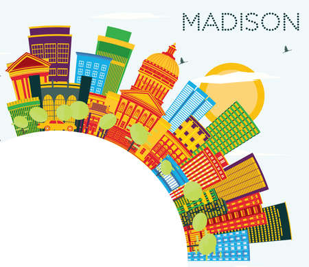Madison Wisconsin Skyline with Color Buildings, Blue Sky and Copy Space. Vector Illustration. Business Travel and Tourism Concept with Modern Buildings. Madison USA Cityscape with Landmarks.