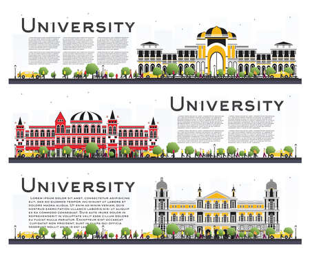 Set of University Campus Study Banners Isolated on White. Vector Illustration. Students Go to the Main Building of University. Skyline with Green Tree. Banner with Copy Space.