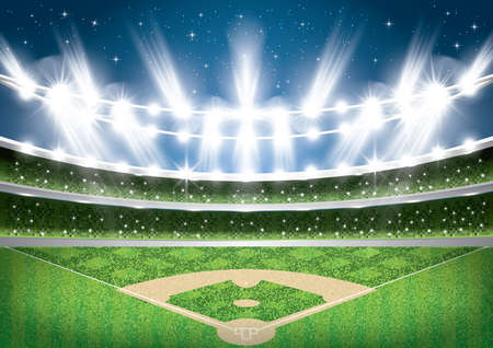 Baseball Stadium with Neon Lights. Arena. Vector Illustration. Vectores
