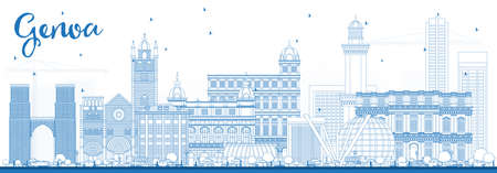 Outline Genoa Italy City Skyline with Blue Buildings. Vector Illustration. Business Travel and Tourism Concept with Modern Architecture. Genoa Cityscape with Landmarks. Illustration