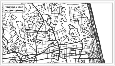 Virginia Beach USA City Map In Retro Style. Outline Map. Vector ...