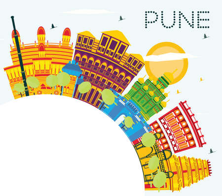 Pune India Skyline with Color Buildings, Blue Sky and Copy Space. Vector Illustration. Business Travel and Tourism Concept with Historic Buildings. Pune Cityscape with Landmarks. Ilustração