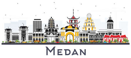 Medan Indonesia City Skyline with Color Buildings Isolated on White. Vector Illustration. Business Travel and Tourism Concept with Historic Architecture. Medan Cityscape with Landmarks. Stock Illustratie
