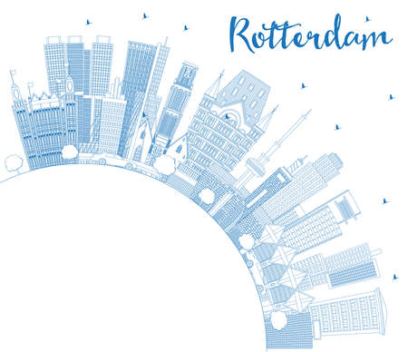 Outline Rotterdam Netherlands City Skyline with Blue Buildings and Copy Space. Vector Illustration. Business Travel and Tourism Concept with Modern Architecture. Rotterdam Cityscape with Landmarks.