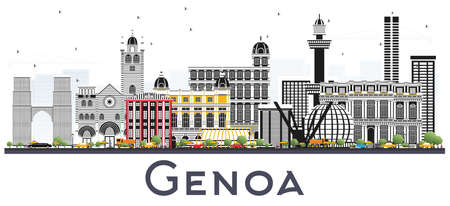 Genoa Italy City Skyline with Color Buildings Isolated on White. Vector Illustration. Business Travel and Tourism Concept with Historic Architecture. Genoa Cityscape with Landmarks.