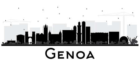 Genoa Italy City Skyline with Black Buildings Isolated on White. Vector Illustration. Business Travel and Tourism Concept with Modern Architecture. Genoa Cityscape with Landmarks. Illustration