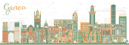 Genoa Italy City Skyline with Color Buildings. Vector Illustration. Business Travel and Tourism Concept with Modern Architecture. Genoa Cityscape with Landmarks.