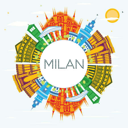 Milan Italy City Skyline with Color Buildings, Blue Sky and Copy Space. Vector Illustration. Business Travel and Tourism Concept with Historic Buildings. Milan Cityscape with Landmarks. Illusztráció