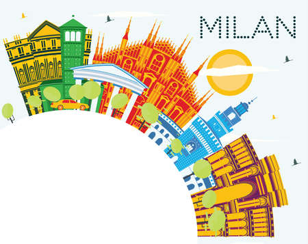 Milan Italy City Skyline with Color Buildings, Blue Sky and Copy Space. Vector Illustration. Business Travel and Tourism Concept with Historic Buildings. Milan Cityscape with Landmarks. 矢量图像