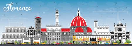 Horizonte de la ciudad de Florencia Italia con edificios de color y cielo azul. Ilustración de vector. Concepto de turismo y viajes de negocios con arquitectura moderna. Paisaje urbano de Florencia con hitos.