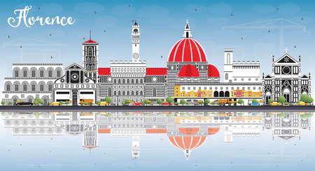 Orizzonte della città di Firenze Italia con edifici di colore, cielo blu e riflessi. Illustrazione vettoriale. Viaggi d'affari e concetto di turismo con architettura moderna. Paesaggio urbano di Firenze con punti di riferimento.