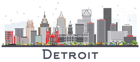 Detroit Michigan City Skyline with Gray Buildings Isolated on White. Vector Illustration. Business Travel and Tourism Concept with Modern Architecture. Detroit USA Cityscape with Landmarks.