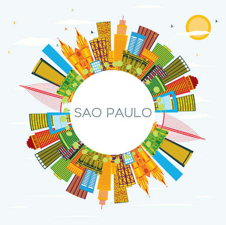 Sao Paulo Brazil City Skyline with Color Buildings, Blue Sky and Copy Space. Vector Illustration. Business Travel and Tourism Concept with Modern Buildings. Sao Paulo Cityscape with Landmarks.