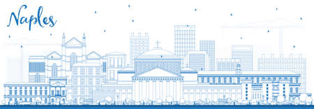 Outline Naples Italy City Skyline with Blue Buildings. Vector Illustration. Business Travel and Tourism Concept with Modern Architecture. Naples Cityscape with Landmarks.