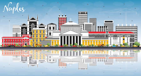 Naples Italy City Skyline with Color Buildings, Blue Sky and Reflections. Vector Illustration. Business Travel and Tourism Concept with Modern Architecture. Naples Cityscape with Landmarks.