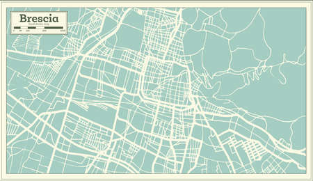Brescia Italy City Map in Retro Style. Outline Map. Vector Illustration.