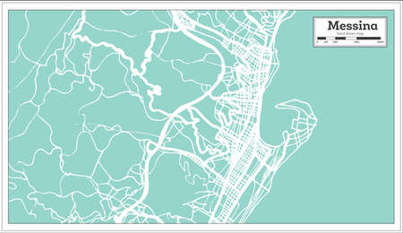 Messina Italy City Map in Retro Style. Outline Map. Vector Illustration.