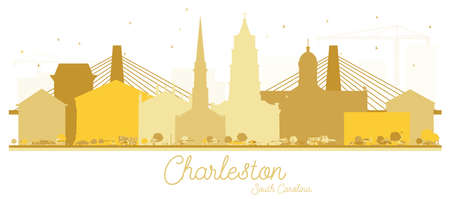 Charleston South Carolina City skyline Golden silhouette. Vector illustration. Simple flat concept for tourism presentation, banner, placard or web site. Business travel concept.