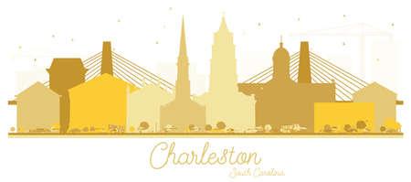 Charleston South Carolina City skyline Golden silhouette. Vector illustration. Simple flat concept for tourism presentation, banner, placard or web site. Business travel concept.