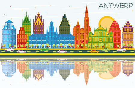 Antwerp Belgium City Skyline with Color Buildings, Blue Sky and Reflections. Vector Illustration. Business Travel and Tourism Concept with Historic Architecture. Antwerp Cityscape with Landmarks.