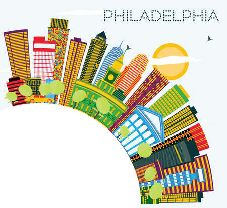 Philadelphia Skyline with Color Buildings, Blue Sky and Copy Space. Vector Illustration. Business Travel and Tourism Concept with Modern Buildings. Philadelphia Cityscape with Landmarks.