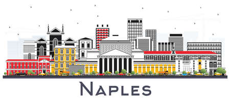 Naples Italy City Skyline with Color Buildings Isolated on White. Vector Illustration. Business Travel and Tourism Concept with Modern Architecture. Naples Cityscape with Landmarks. Vettoriali