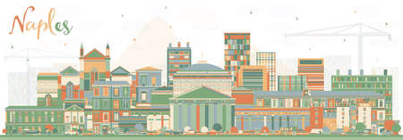 Naples Italy City Skyline with Color Buildings. Vector Illustration. Business Travel and Tourism Concept with Modern Architecture. Naples Cityscape with Landmarks.