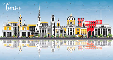 Turin Italy City Skyline with Color Buildings, Blue Sky and Reflections. Vector Illustration. Business Travel and Tourism Concept with Modern Architecture. Turin Cityscape with Landmarks. Ilustração