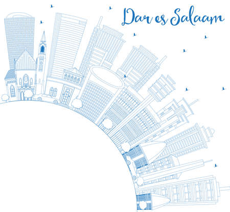 Outline Dar Es Salaam Tanzania City Skyline with Blue Buildings and Copy Space. Vector Illustration. Business Travel and Tourism Concept with Modern Architecture.