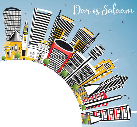 Dar Es Salaam Tanzania City Skyline with Color Buildings, Blue Sky and Copy Space. Vector Illustration. Business Travel and Tourism Concept with Modern Architecture. Stock Illustratie
